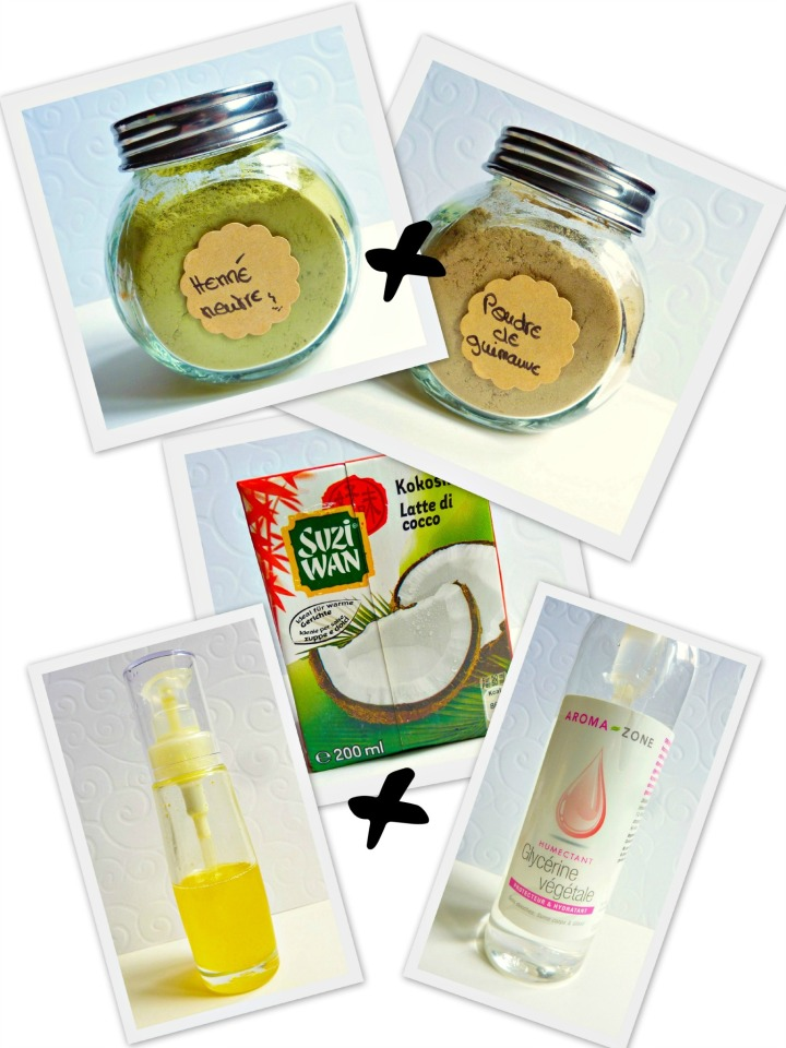 Masque capillaire fortifiant: henné neutre, guimauve et lait decoco