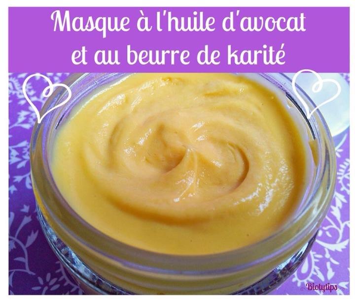 Masque capillaire à l'huile d'avocat et au beurre dekarité